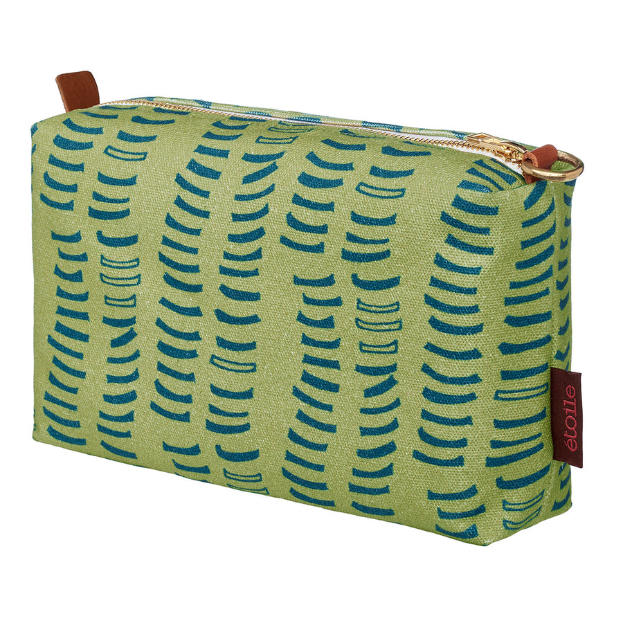 Graphic rib patterned printed toiletry or wash bag in antique moss green and dark blue ships from Canada (USA)