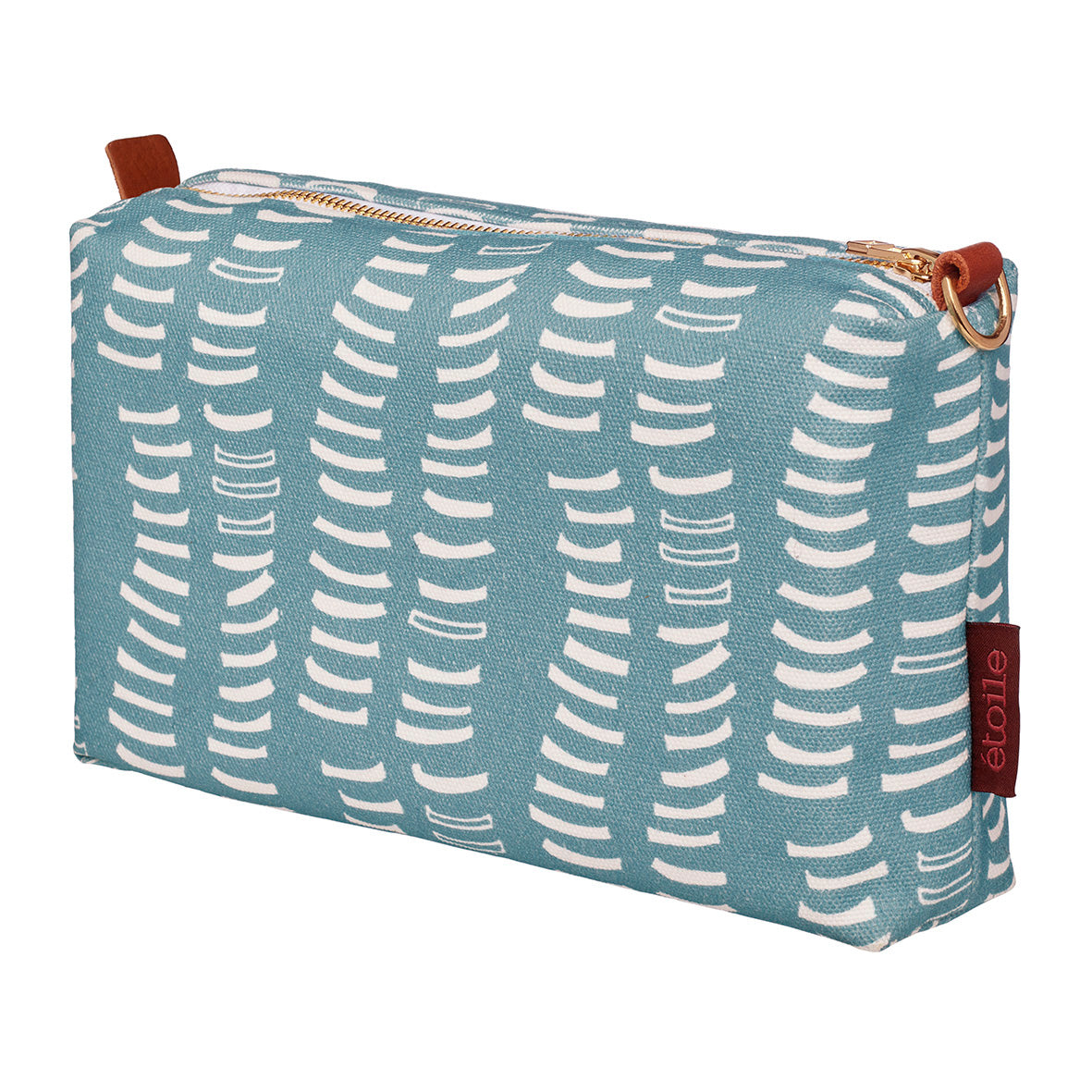 Pale blue canvas toiletry or wash bag-cosmetic-travel-water-resistant-proof-graphic-pattern-adams-rib-ships from Canada (USA)