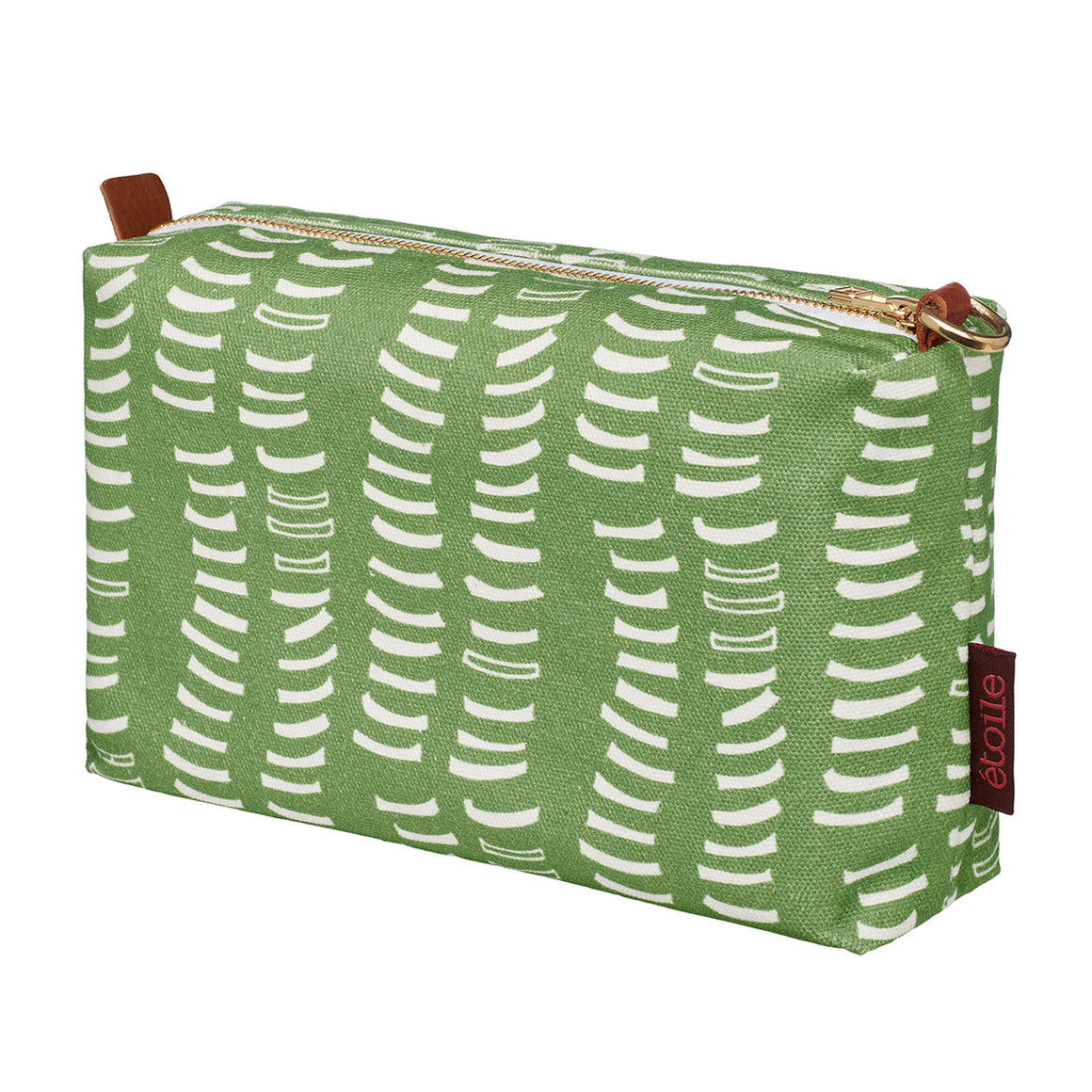 Avocado pale green canvas cotton toiletry or wash bag water resistant travel cosmetic ships from Canada (USA)