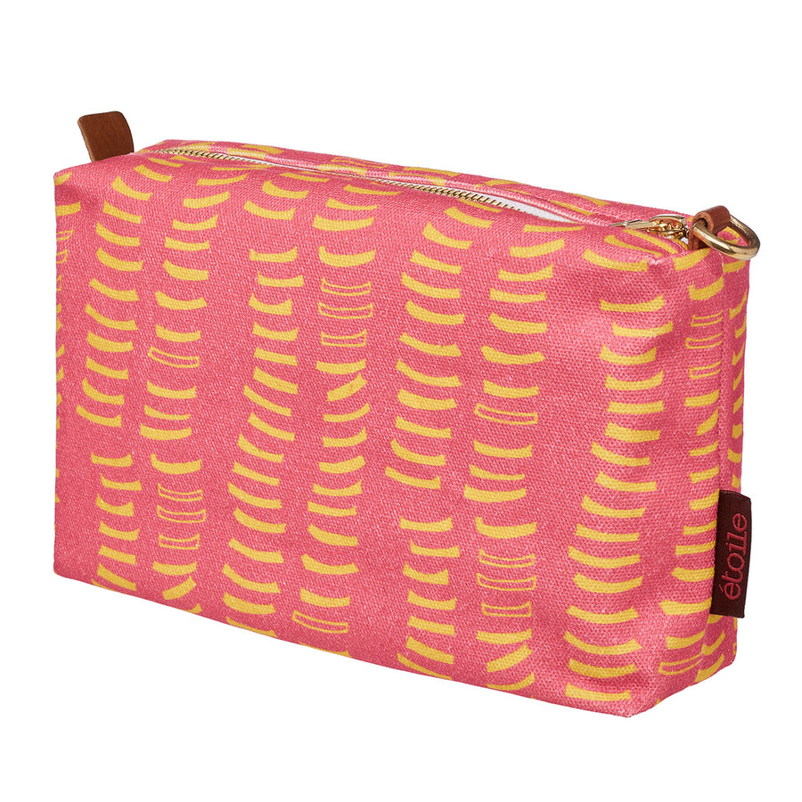 Coral-pink-yellow-adams-rib-graphic-pattern-canvas-toiletry-wash-bag-cosmetic-water-resistant-travel-storage-canada-usa