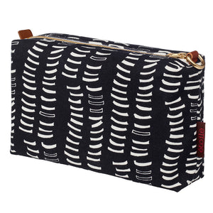 Black graphic adams rib pattern canvas toiletry wash cosmetic bag water resistant travel storage ships from Canada (USA)