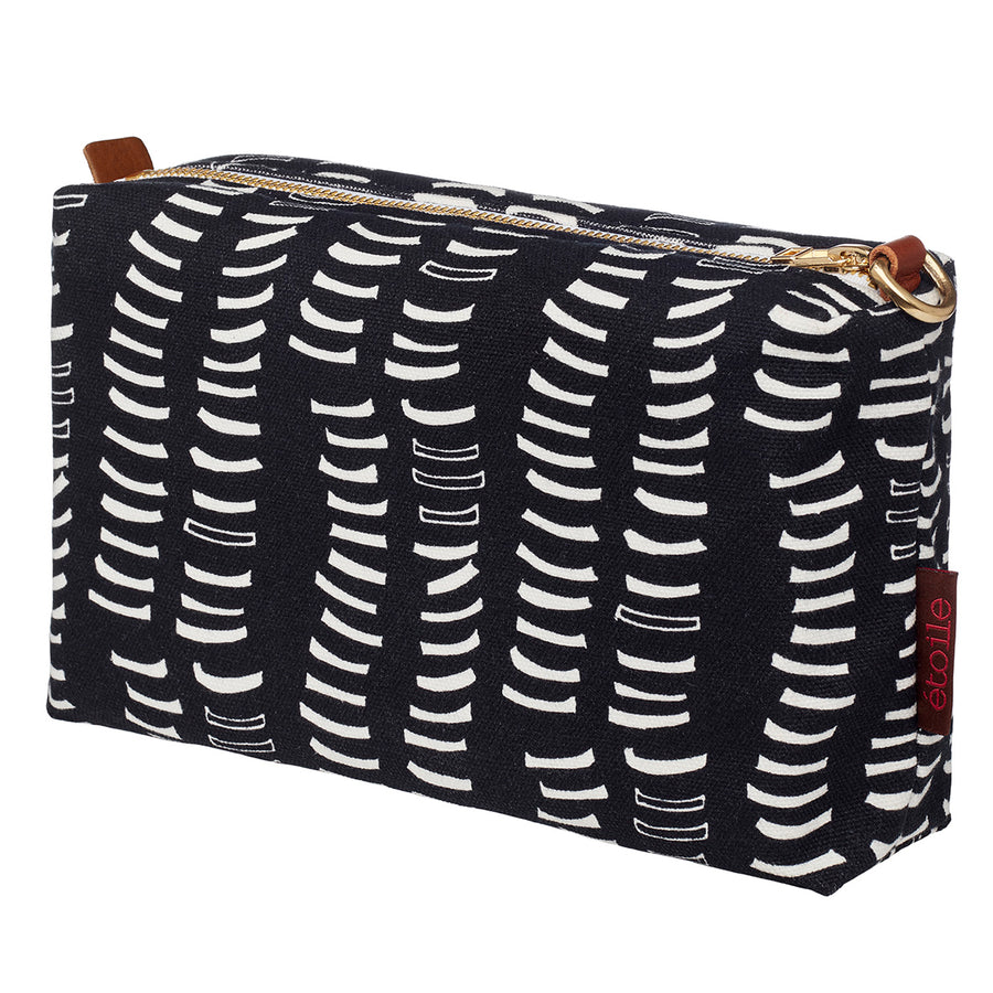 Black-graphic-adams-rib-pattern-canvas-toiletry-bag-water-resistant-travel-cosmetics-storage