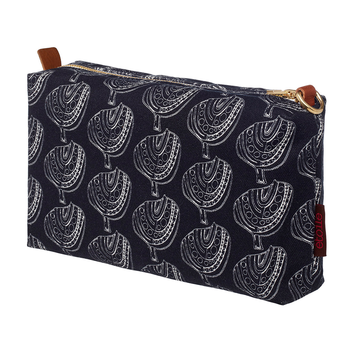 Graphic Apple Tree Pattern Printed Cotton Canvas Toiletry, cosmetic and Travel Bag in Black & White in Canada