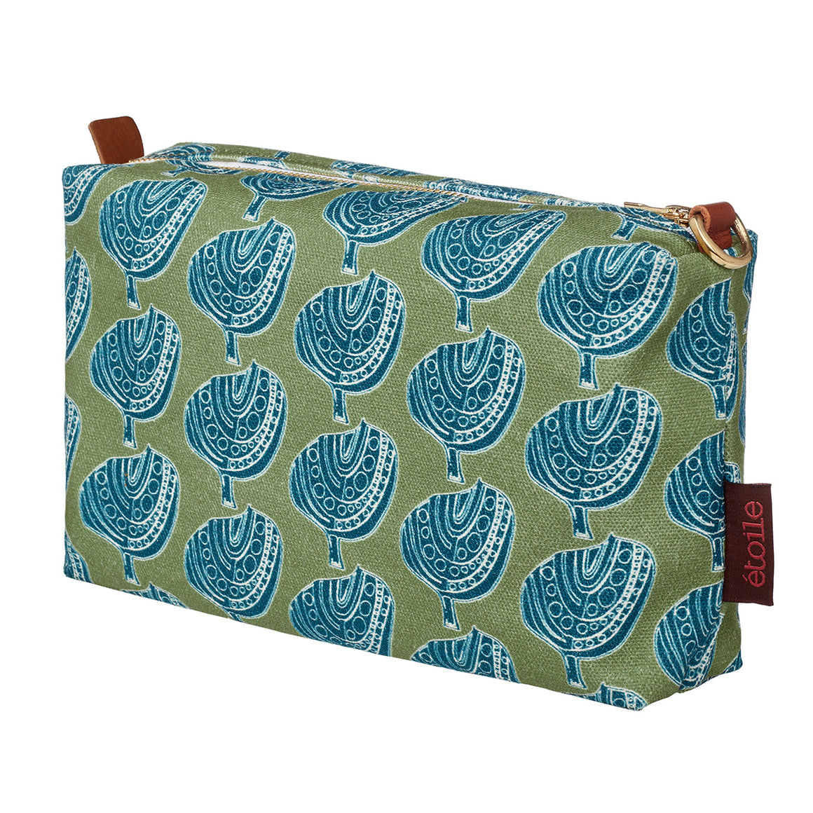 Graphic Apple Tree Pattern Printed Cotton Canvas toiletry, cosmetic and travel Bag in Antique Moss Green and Petrol Blue water resistant
