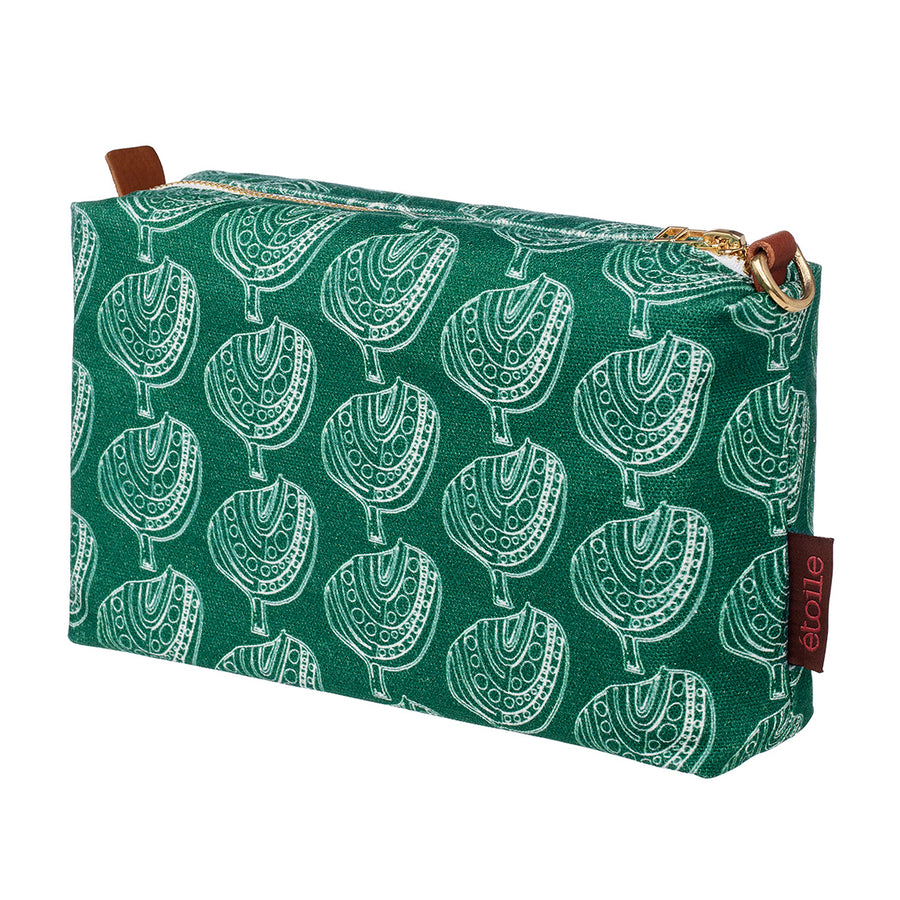 Moss Green Cotton Canvas Toiletry Bag with water and stain resistant finish perfect for your travel cosmetics