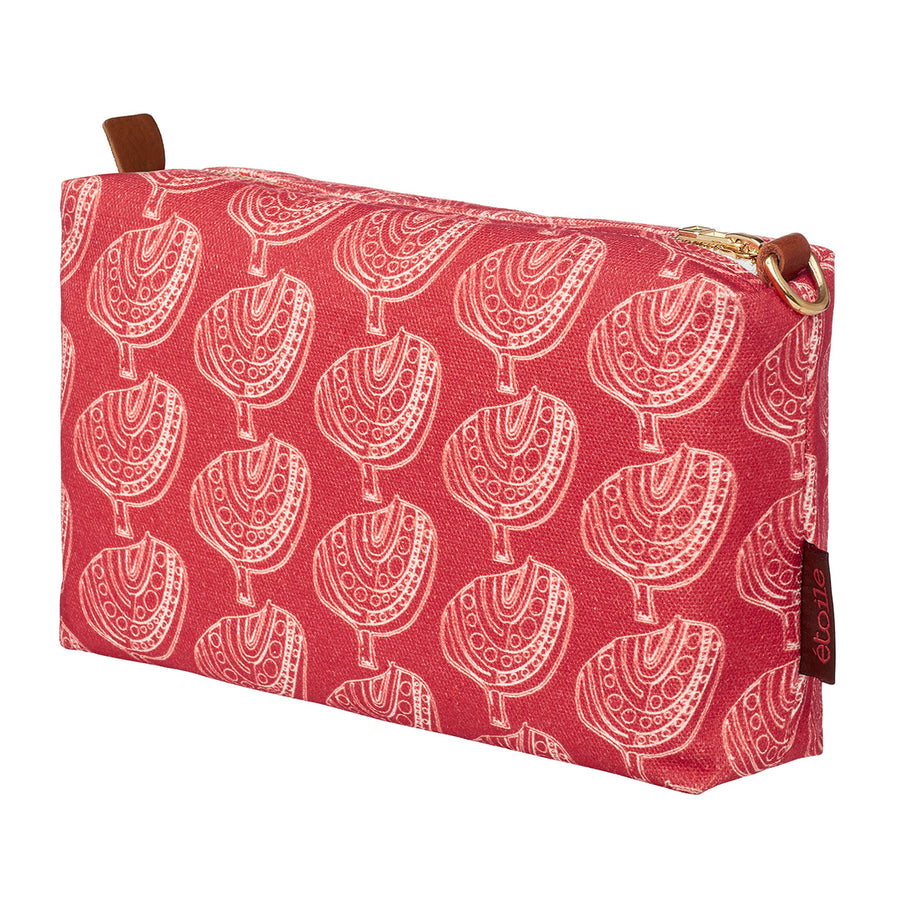 Apple tree pattern cotton canvas toiletry, cosmetic, wash travel bag with water and stain resistant coating in geranium red ships from Canada (USA)