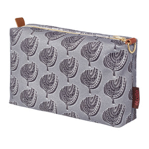 Graphic Apple Tree Pattern Printed Cotton Canvas Toiletry Wash Cosmetic Travel Bag in Dove Grey and Black ships from Canada (USA)
