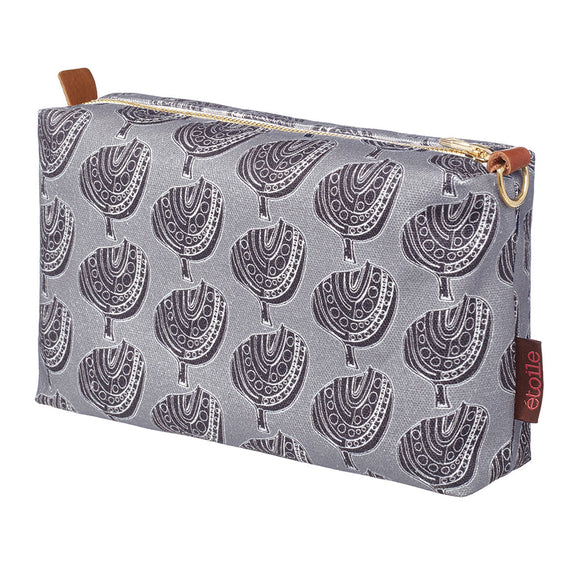 Graphic Apple Tree Pattern Printed Cotton Canvas Wash Bag in Dove Grey and Black