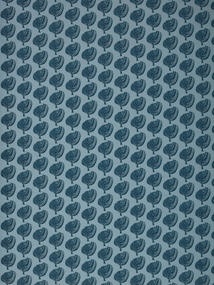 Graphic Apple Tree Pattern Printed Linen Cotton Canvas Fabric in Pale Winter Blue and Dark Petrol Blue