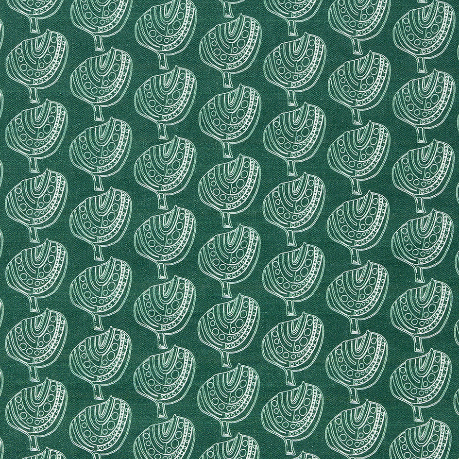 Graphic Apple Tree Pattern Printed Fabric in Dark Moss Green and White