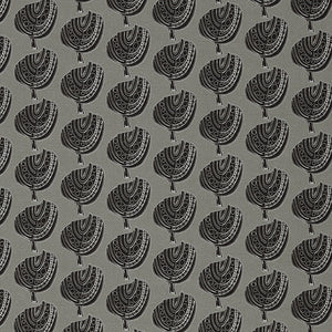 Graphic Apple Tree Pattern Printed Fabric in Dove Grey and Black