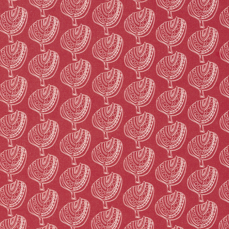 Graphic Apple Tree Pattern Printed Fabric in Warm Geranium red
