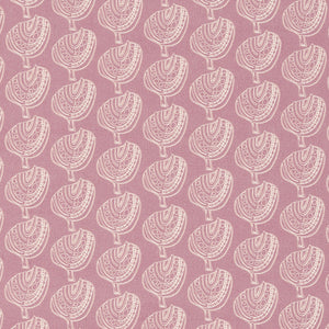 Graphic Apple Tree Pattern Printed Linen Cotton Canvas Fabric in Light Heather Pink