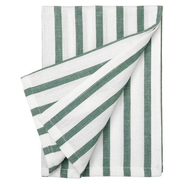 Autumn Ticking Stripe Linen Cotton Napkin - Moss Green