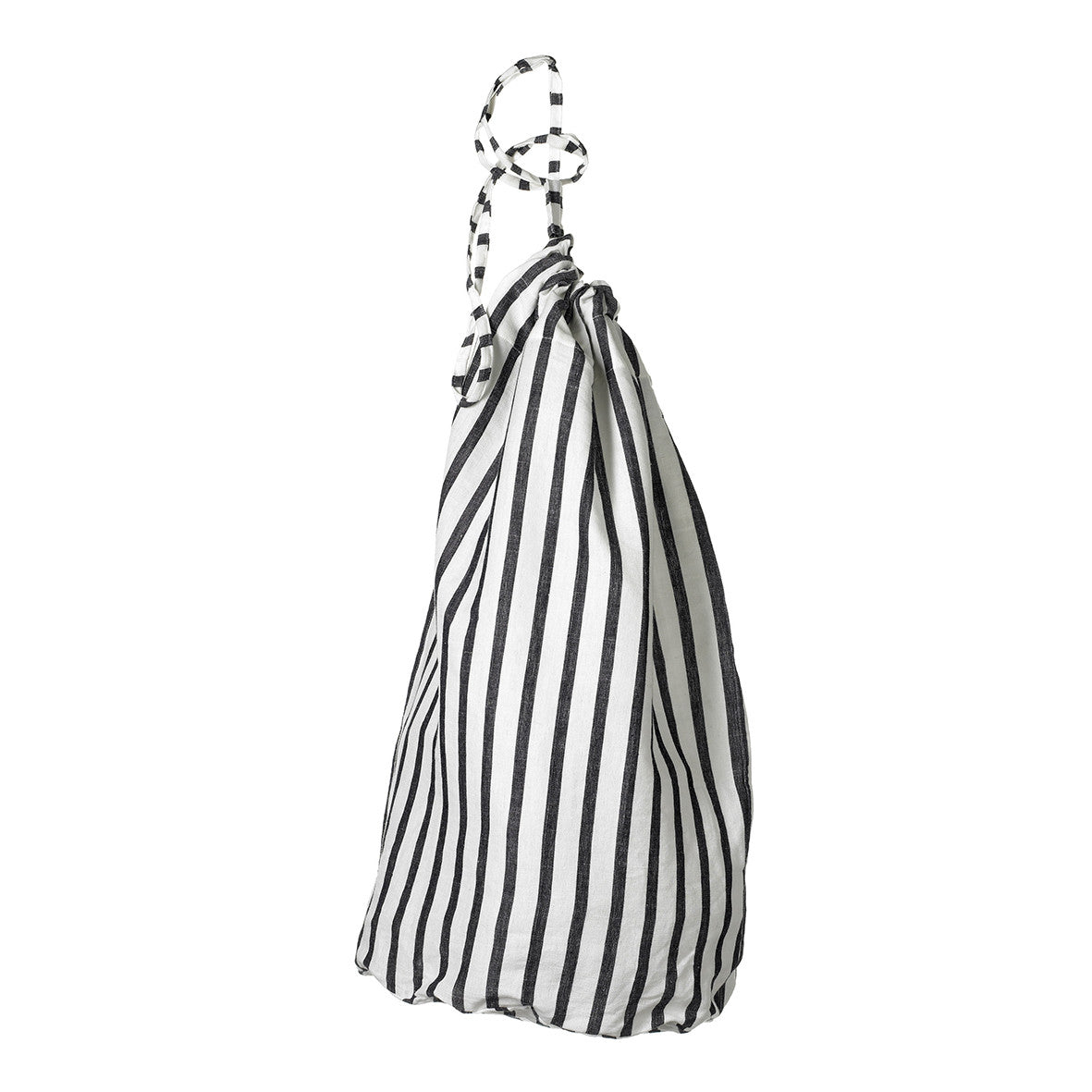 Autumn Ticking Stripe Linen Laundry and Storage Bags in Black ships from Canada (USA)