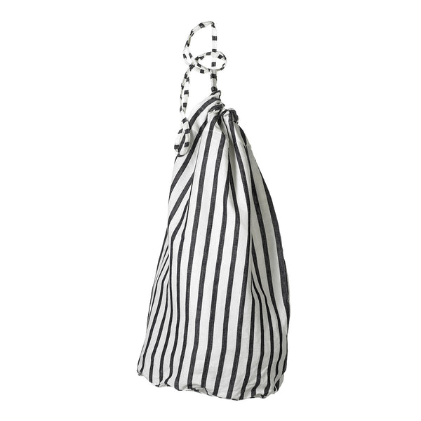 Autumn Ticking Stripe Linen Laundry and Storage Bags in Black