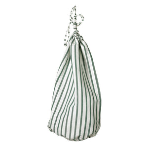 Autumn Ticking Stripe Cotton Linen Drawstring Laundry and Storage bags Dark Moss Green ships from Canada (USA)