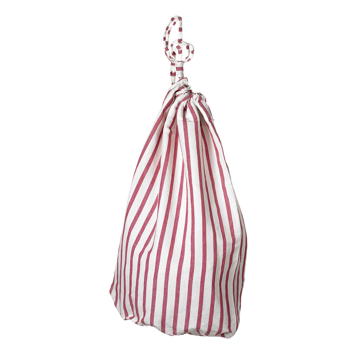 Autumn Ticking Stripe Drawstring Cotton Linen Laundry and Storage Bag in Heather Pink ships from Canada (USA)