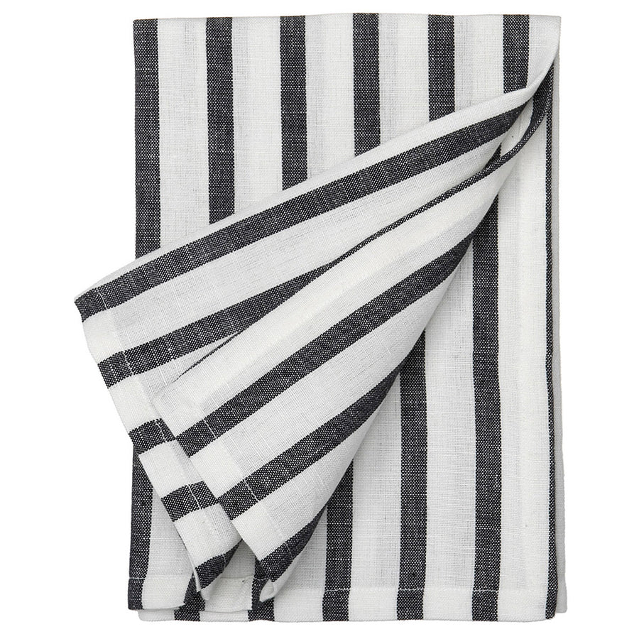 Autumn Ticking Stripe Cotton Linen Napkin - Black
