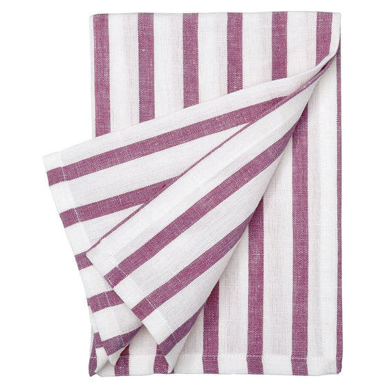 Autumn Ticking Stripe Cotton Linen Napkin - Dark Heather Pink