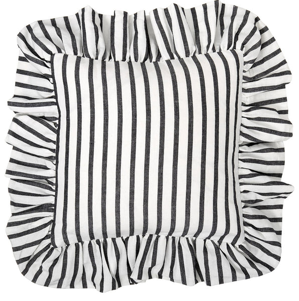 Autumn Ticking Stripe Ruffle Cushion in Black 45x45cm