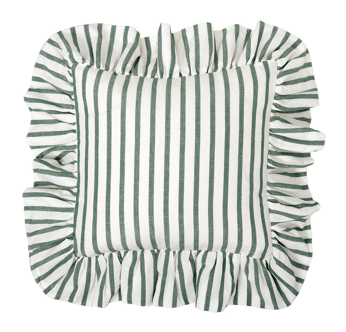 Autumn Ticking Stripe Ruffle Cushion in Dark Moss Green 45x45cm