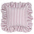 "Autumn Ticking Stripe Ruffle Decorative Throw Pillow in Dark Heather Pink 45x45cm (18x18"")"