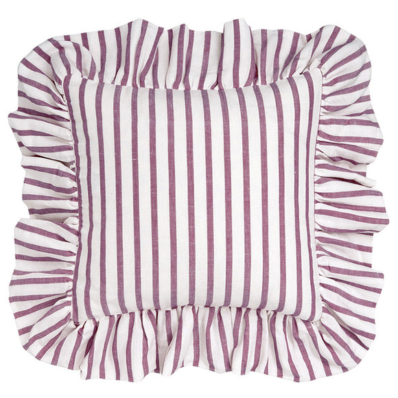 Autumn Ticking Stripe Ruffle Cushion in Dark Heather Pink 45x45cm