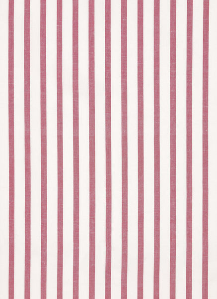 Autumn Ticking Stripe Cotton Linen Fabric by the Meter in Dark Heather Pink