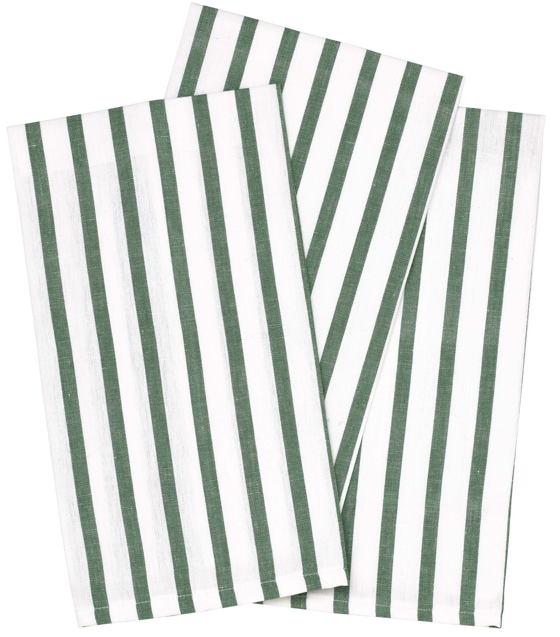 Autumn Stripe Tea Towel - Moss Green