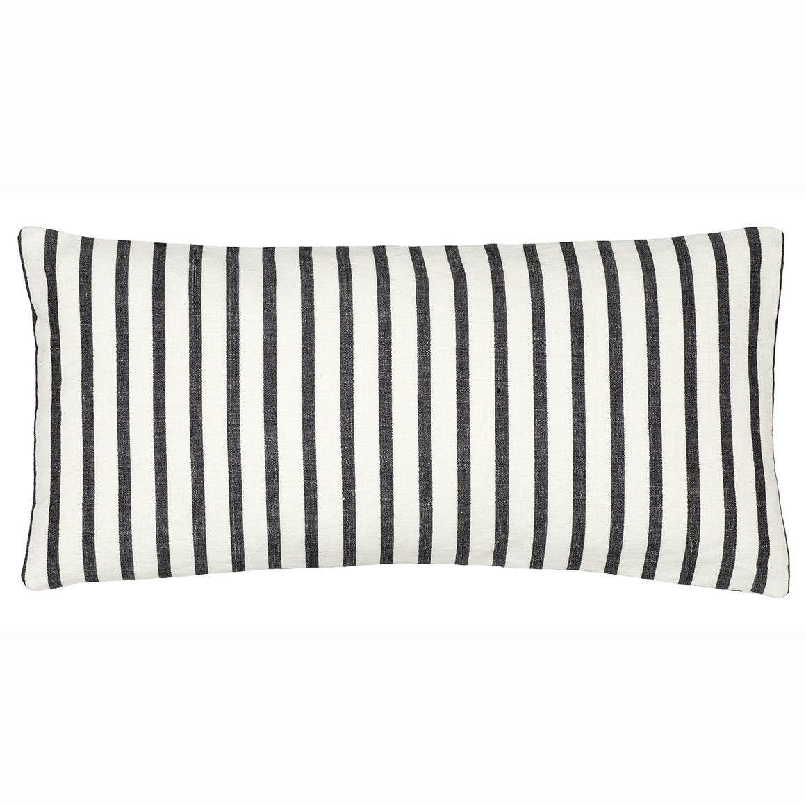 Autumn Ticking Stripe Rectangle Cushion - Black 30x60cm