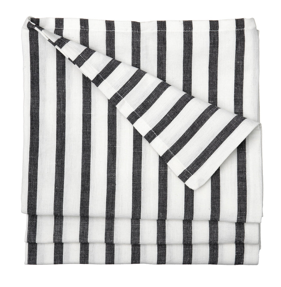 Autumn Ticking Stripe Linen Cotton Tablecloth in Black