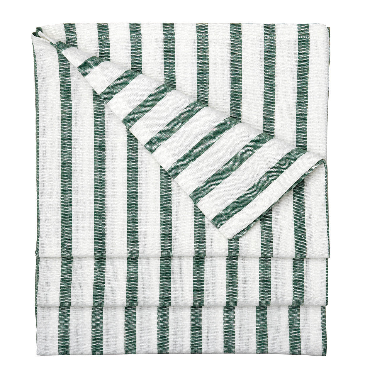 Autumn Ticking Stripe Cotton Linen Tablecloth in Dark Moss Green Canada USA