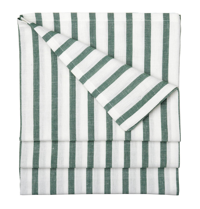 Autumn Ticking Stripe Cotton Linen Tablecloth in Dark Moss Green
