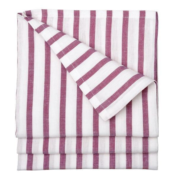 Autumn Ticking Stripe Cotton Linen Tablecloth in Burgundy Heather Pink