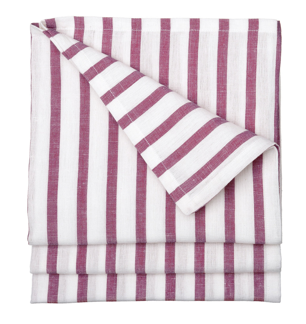 Autumn Ticking Stripe Cotton Linen Tablecloth in Burgundy Heather Pink Ships from Canada (USA)