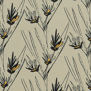 Beakrush floral home decor fabric for curtains, blinds and upholstery in Natural Earth, Black and Yellow ships from canada worldwide including the USA