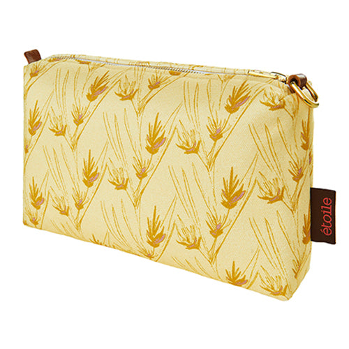 Beakrush-floral-pattern canvas toiletry travel bag in straw yellow and gold ships from canada worldwide including the USA