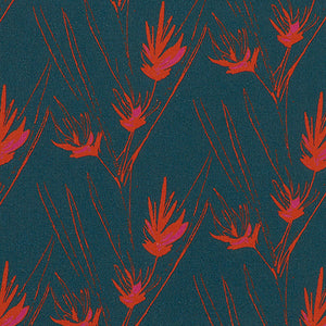 Beakrush floral home decor interior fabric by the meter for curtains, blinds and upholstery in dark petrol blue and red ships from Canada to USA