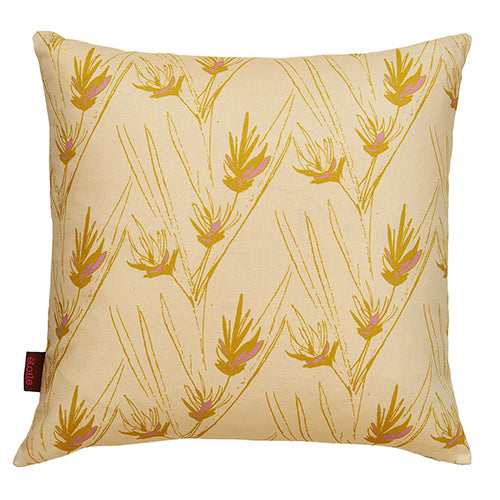 "Beakrush floral cotton linen throw pillow in Straw yellow, gold and light heather pink 45x45cm (18x18"") ships from canada worldwide including the USA"