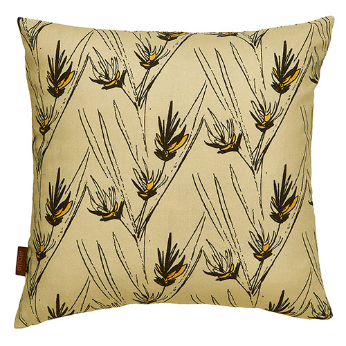 Beakrush floral designer cotton linen throw pillow in Natural Earth and Black ships from Canada worldwide including the USA