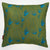 "Beakrush floral cotton linen designer throw pillow in Olive Green Petrol and Turquoise Blue 45x45cm (18x18"") ships from Canada worldwide including the USA"