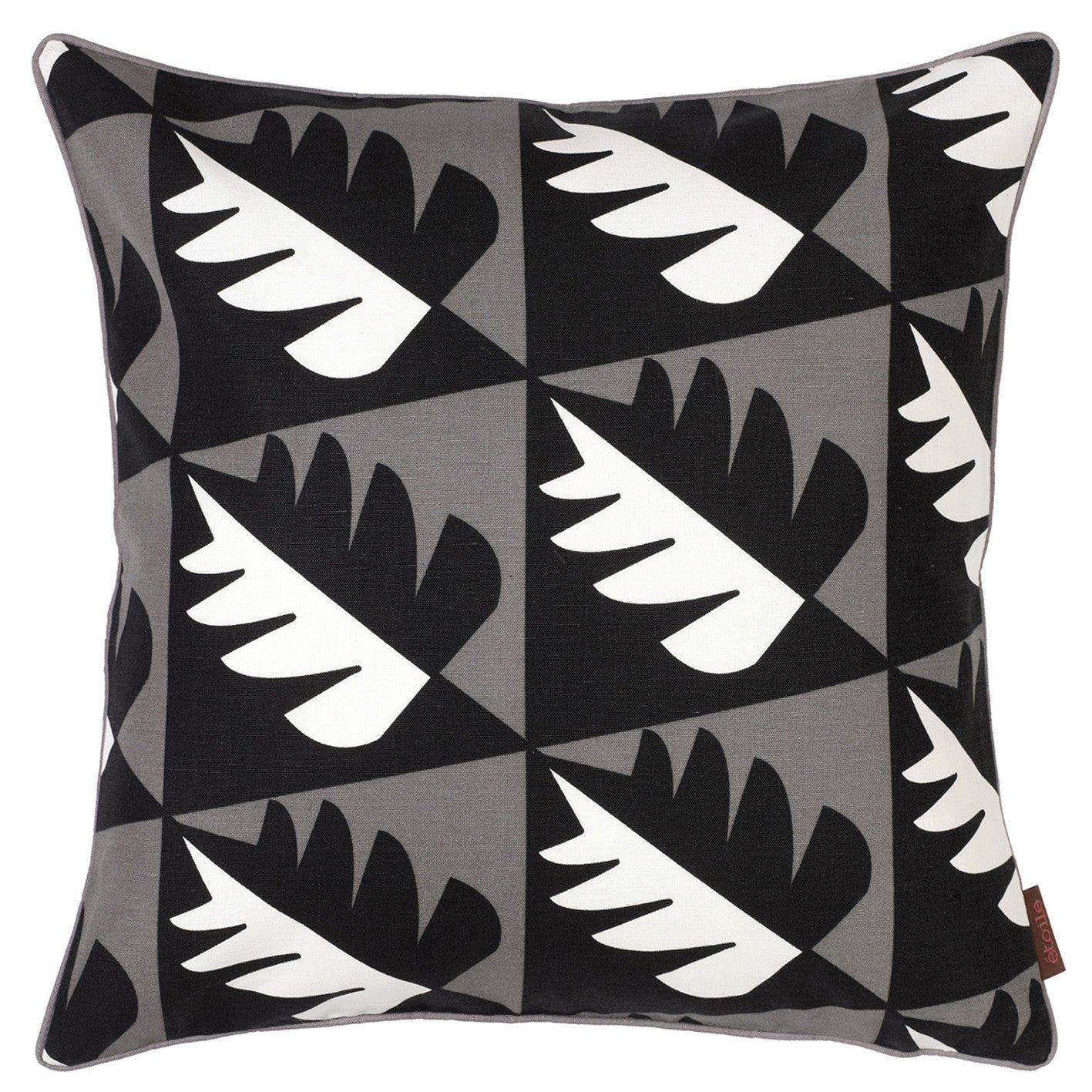 Betty Geometric Tree Pattern Cotton Linen Cushion in Stone Grey 45x45cm