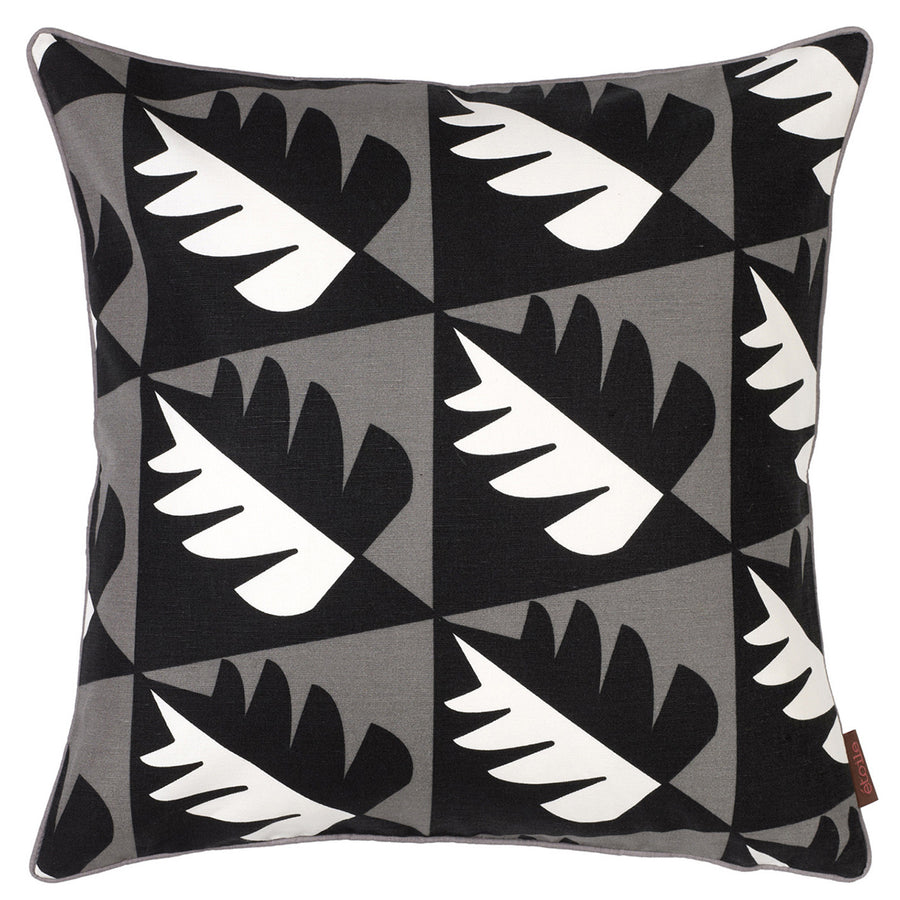 "Betty Geometric Tree Pattern Cotton Linen Decorative Throw Pillow in Stone Grey 45x45cm (18x18"")"