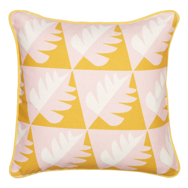 Betty Geometric Tree Pattern Linen Cushion in Saffron Yellow 45x45cm