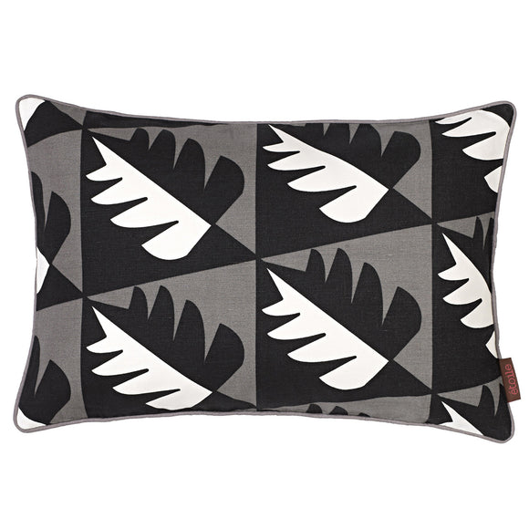 Betty Geometric Tree Pattern Rectangle Cushion in Stone Grey with Black