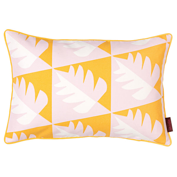 Betty Geometric Tree Pattern Rectangle Cushion in Saffron Yellow & Light Tea Rose Pink