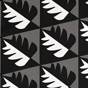 Betty Geometric Tree Pattern Cotton Linen Fabric by the Meter in Stone Grey & Black