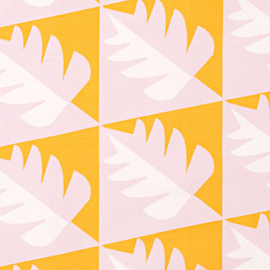 Betty Geometric Tree Pattern Cotton Linen Fabric by the Meter in Light Tea Rose Pink & Saffron Yellow