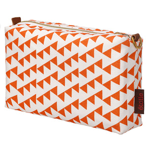 Bunting Geometric Pattern Cotton Canvas Wash Toiletry Travel Bag - Pumpkin Orange Ships from canada